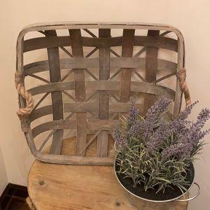 Last 1❗️HP🎉 Rustic Modern Farmhouse Wood Tobacco Basket